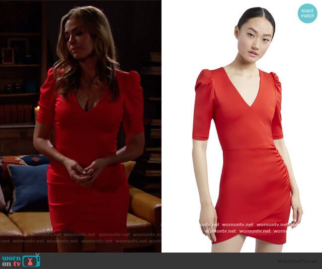 Judy Ruched Red Mini Dress by Alice + Olivia worn by Shauna Fulton (Denise Richards) on The Bold & the Beautiful