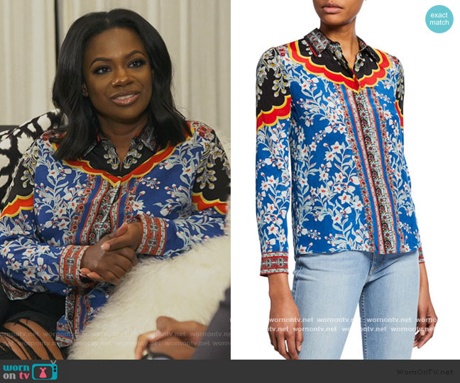 Willa Print Silk Shirt by Alice + Olivia worn by Kandi Burruss  on The Real Housewives of Atlanta