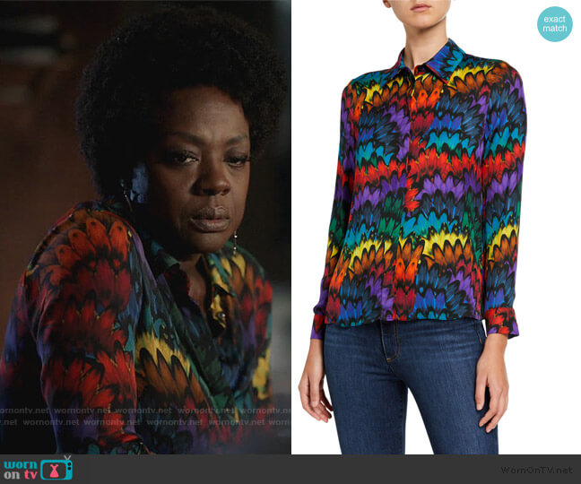 Willa Placket Top by Alice + Olivia worn by Annalise Keating (Viola Davis) on HTGAWM