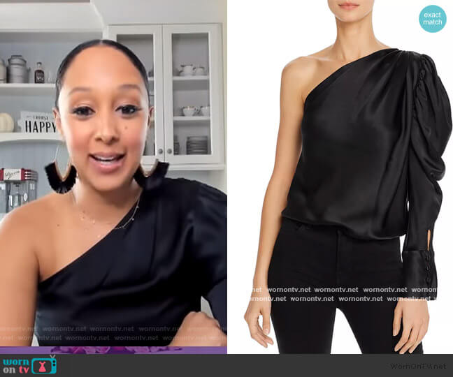 Dakota One-Shoulder Puffed-Sleeve Silk Bodysuit by Alix NYC worn by Tamera Mowry  on The Real