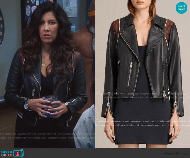 All Saints Panel Balfern Leather Bomber worn by Rosa Diaz (Stephanie Beatriz) on Brooklyn Nine-Nine