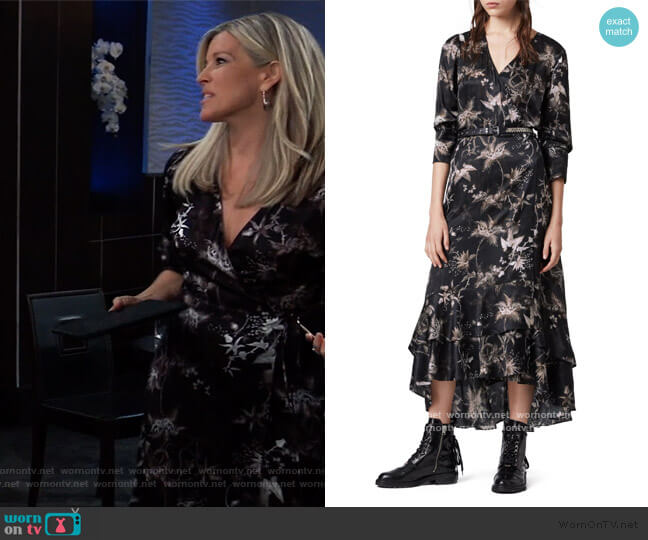 Tage Evolution Floral Print High/Low Wrap Dress by All Saints worn by Carly Corinthos (Laura Wright) on General Hospital