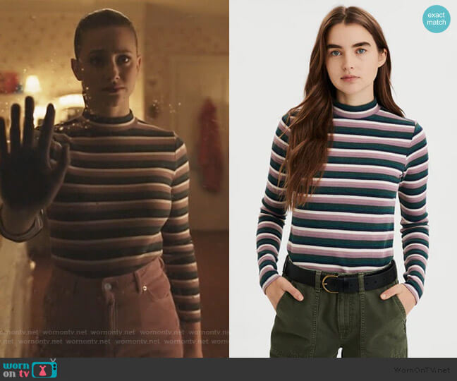 Striped Long Sleeve Mock Neck Tee by American Eagle worn by Betty Cooper (Lili Reinhart) on Riverdale