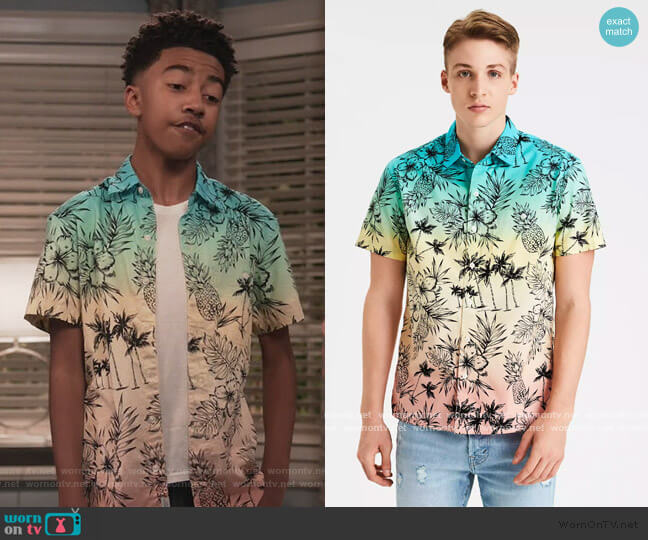 Tropical Print Short Sleeve Button up Shirt by American Eagle worn by Jack Johnson (Miles Brown) on Blackish