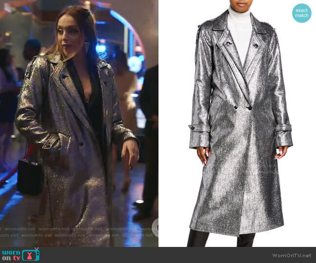 Andi Metallic Tweed Long Coat by RtA worn by Fallon Carrington (Elizabeth Gillies) on Dynasty
