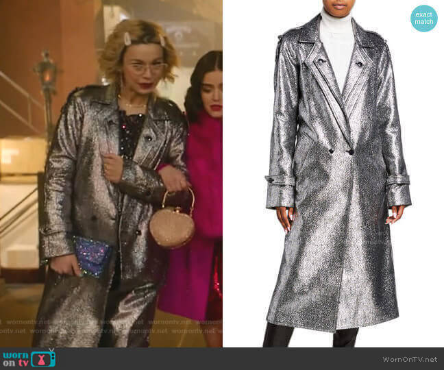 Andi Metallic Tweed Long Coat by RtA worn by Pepper Smith (Julia Chan) on Katy Keene
