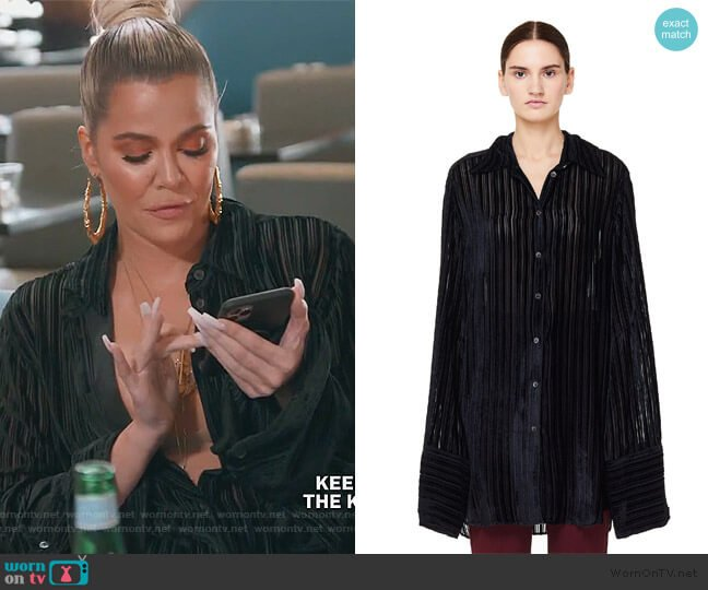 Striped Velvet Blouse by Ann Demeulemeester worn by Khloe Kardashian  on Keeping Up with the Kardashians