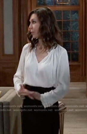 Anna's white ruffle cuff blouse on General Hospital