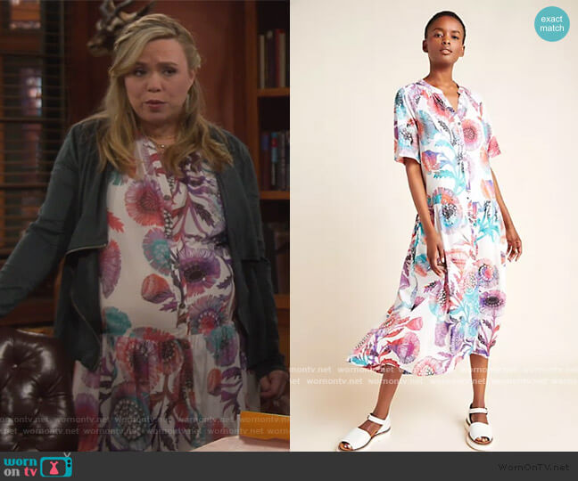Azores Maxi Dress by Anthropologie worn by Kristin Baxter (Amanda Fuller) on Last Man Standing
