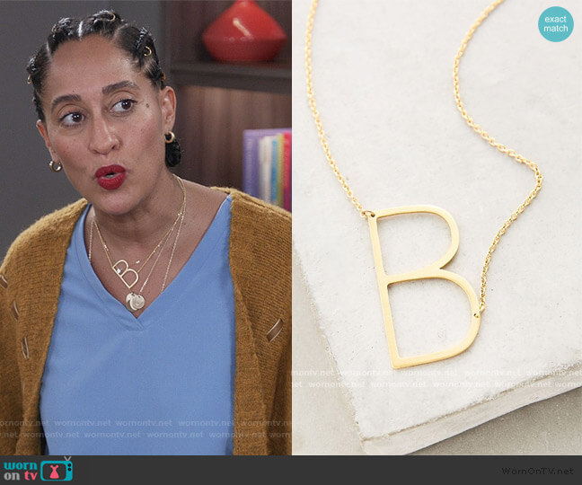 Block Letter Monogram Necklace by Anthropologie worn by Rainbow Johnson (Tracee Ellis Ross) on Blackish