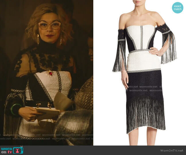 Antoinette Off-The-Shoulder Dress by Alexis worn by Pepper Smith (Julia Chan) on Katy Keene