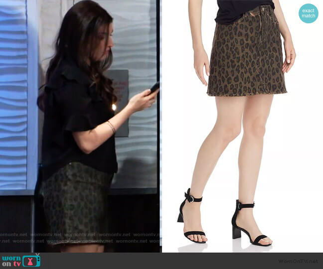 Frayed Leopard Print Denim Skirt by Aqua worn by Brook Lynn Quartermaine (Amanda Setton) on General Hospital