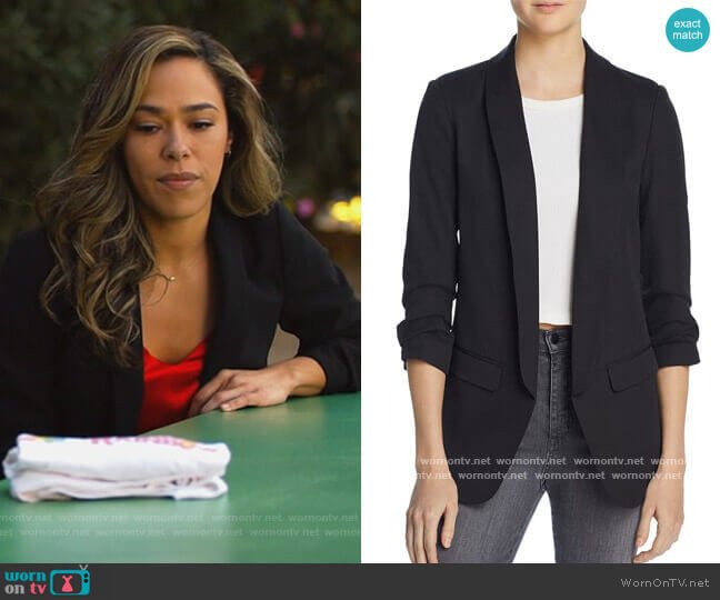 Ruched Sleeve Blazer by Aqua worn by Emily Lopez (Jessica Camacho) on All Rise