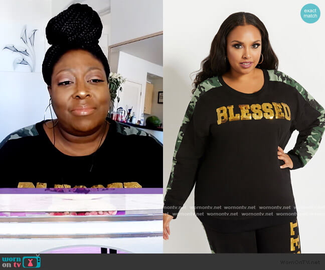 Blessed Camo Sweatshirt by Ashley Stewart worn by Loni Love  on The Real