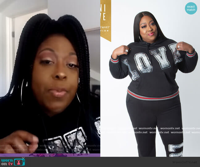 Love Sequin Hoodie by Ashley Stewart worn by Loni Love  on The Real