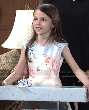 Bella's unicorn print dress on The Young and the Restless