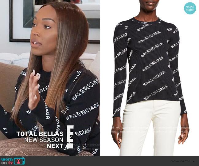 Techno Logo-Print Ribbed Sweater by Balenciaga
