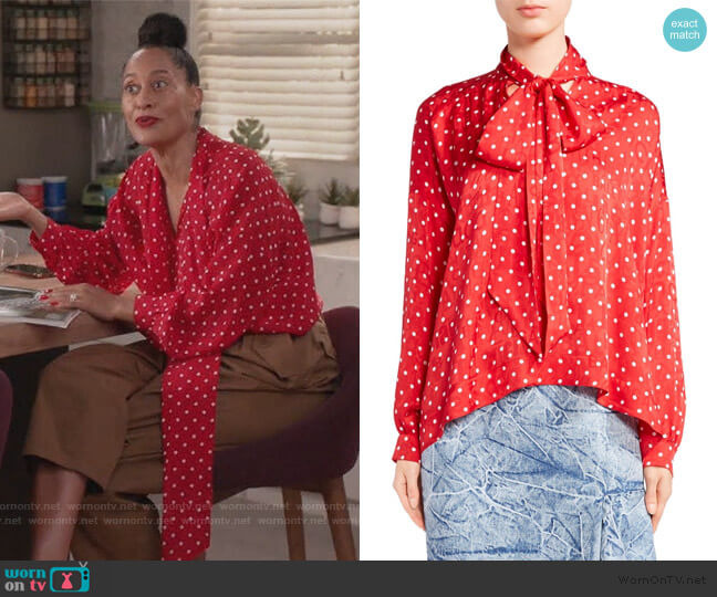 Polka Dot Tie Neck Blouse by Balenciaga worn by Rainbow Johnson (Tracee Ellis Ross) on Blackish