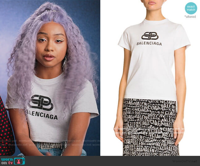 Short-Sleeve Logo T-Shirt by Balenciaga worn by Chloe Barris (Genneya Walton) on BlackAF