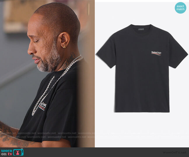 Logo Printed T-Shirt by Balenciaga worn by Kenya Barris  on BlackAF