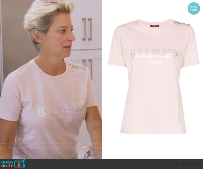 Logo Print Tee by Balmain worn by Dorinda Medley  on The Real Housewives of New York City