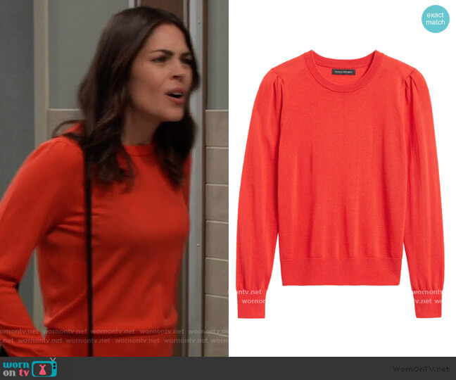 Washable Merino Puff-Sleeve Sweater by Banana Republic worn by Britt Westbourne (Kelly Thiebaud) on General Hospital