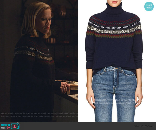 Navy Fair Isle Turtleneck Sweater by Barneys New York worn by Elena Richardson (Reese Witherspoon) on Little Fires Everywhere