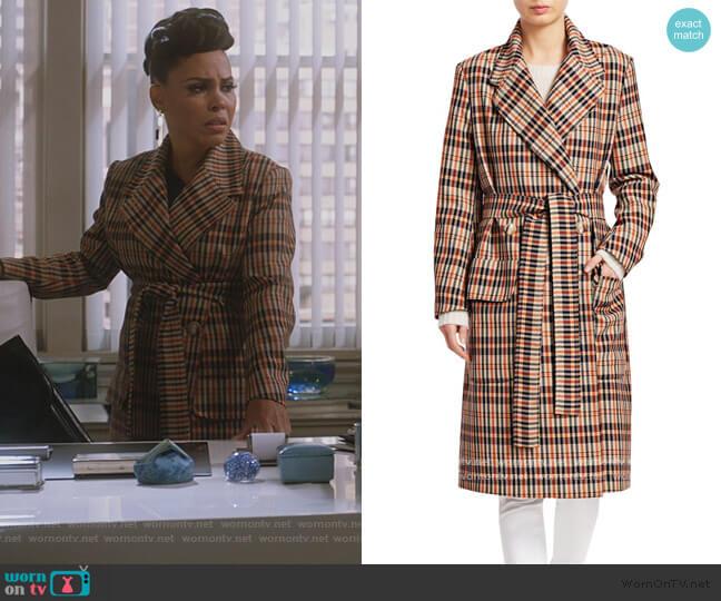 Deidra Checker Wrap Trench Coat by Baum und Pferdgarten worn by Tegan Price (Amirah Vann) on HTGAWM