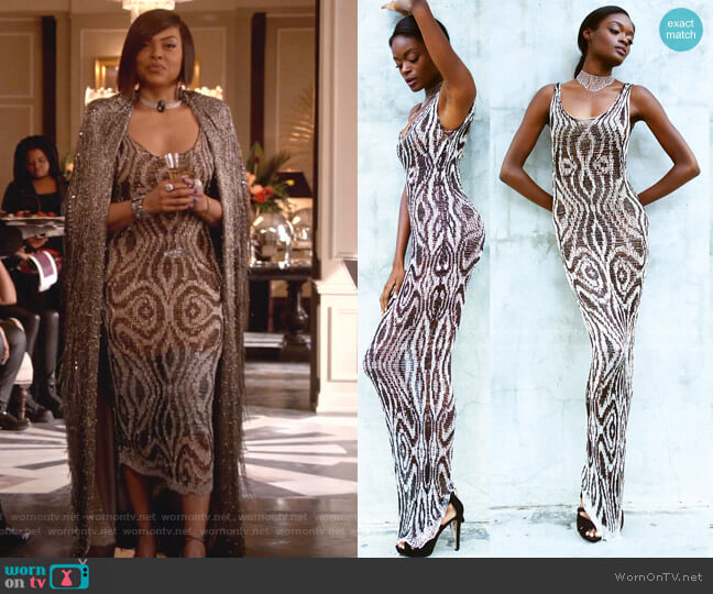 Black and Silver Chain Python Gown Custom Order by Natalia Fedner worn by Cookie Lyon (Taraji P. Henson) on Empire