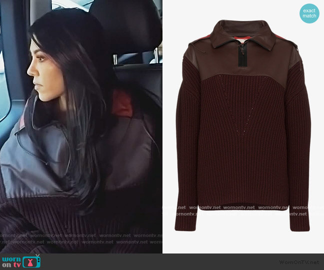 Contrast Hood Cashmere And Leather Jumper by Bottega Veneta worn by Kourtney Kardashian  on Keeping Up with the Kardashians