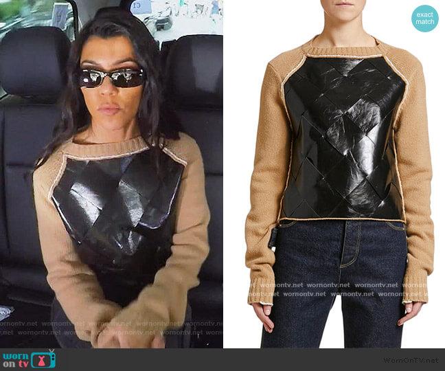 Leather-Front Wool Sweater by Bottega Veneta worn by Kourtney Kardashian  on Keeping Up with the Kardashians