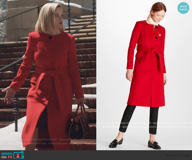 Brushed Wool Twill Wrap Coat by Brooks Brothers worn by Elena Richardson (Reese Witherspoon) on Little Fires Everywhere