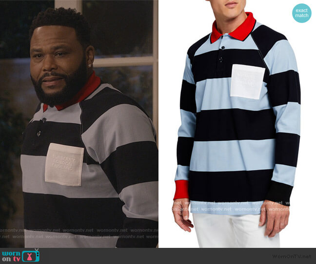 Barford Striped Long-Sleeve Rugby Shirt by Burberry worn by Andre Johnson (Anthony Anderson) on Blackish