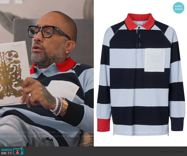 Striped Cotton Pique Polo Shirt by Burberry worn by Kenya Barris  on BlackAF