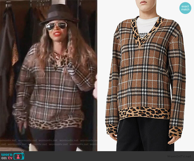 Vintage Checked Leopard Sweater by Burberry worn by Malika Haqq on Keeping up with the Kardashians