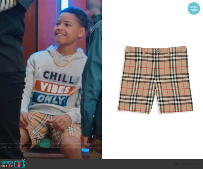 Tristen Woven Cotton Check Shorts by Burberry worn by Pops Barris (Justin Claiborne) on BlackAF