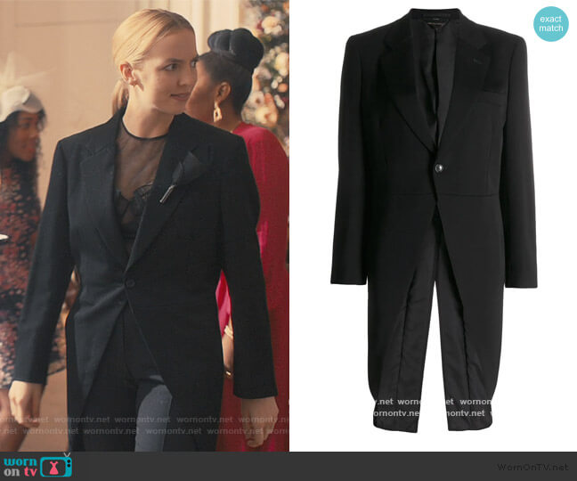 Slim Fit Tuxedo Blazer by Comme Des Garcons worn by Villanelle (Jodie Comer) on Killing Eve