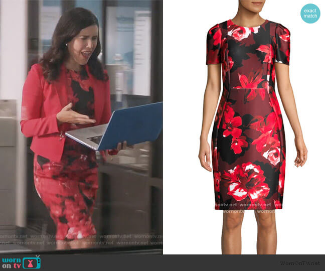 Floral Short-Sleeve Sheath Dress by Calvin Klein worn by Shannon Ross (Nicole Power) on Kims Convenience