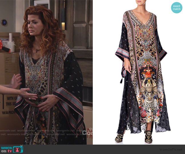 Printed Coverup Kaftan with Sheer Sleeves by Camilla worn by Grace Adler (Debra Messing) on Will & Grace