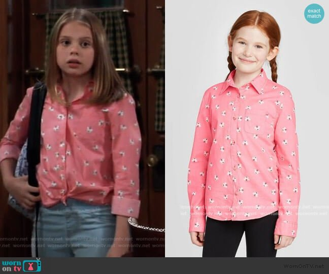Bee Print Long Sleeve Button-Down Shirt by Cat & Jack worn by Charlotte Cassadine (Scarlett Fernandez) on General Hospital