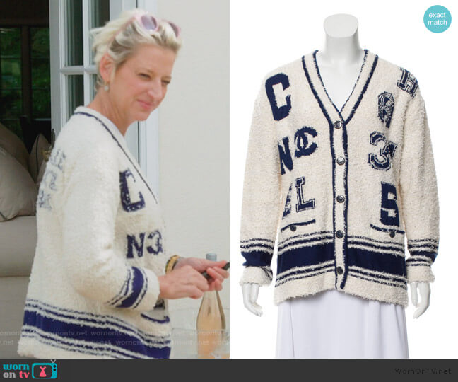 2019 Logo Cardigan by Chanel worn by Dorinda Medley  on The Real Housewives of New York City