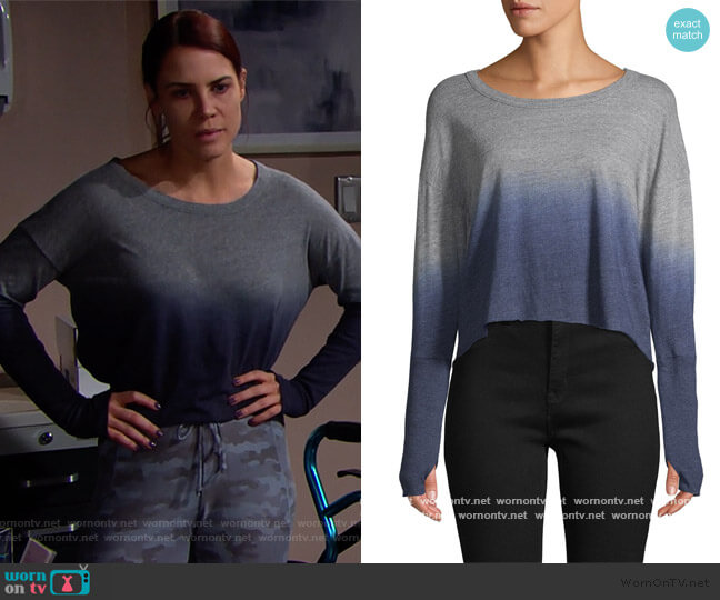 Ombre Cropped Sweater by Chaser worn by Sally Spectra (Courtney Hope) on The Bold & the Beautiful
