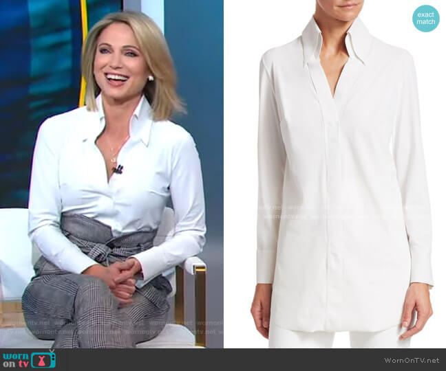 Atena Longline Blouse by Chiara Boni La Petite Robe worn by Amy Robach  on Good Morning America