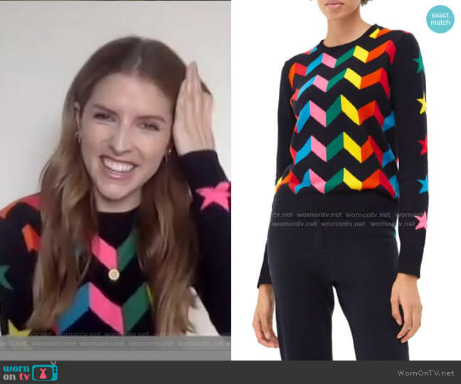 Rainbow Chevron Cashmere Sweater by Chinti and Parker worn by Anna Kendrick on Today Show