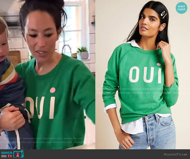 Oui Sweatshirt by Clare V. for Anthropologie worn by Joanna Gaines on GMA