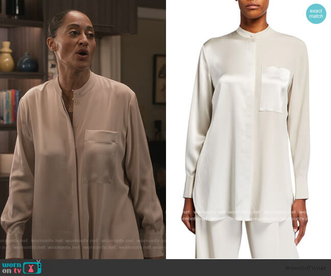 Satin & Georgette Banded Neck Shirt by Co worn by Rainbow Johnson (Tracee Ellis Ross) on Blackish