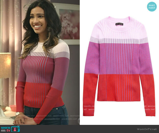 Color-Blocked Sweater Top by Banana Republic worn by Kara Royster on God Friended Me
