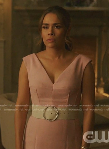 Cristal's pink v-neck sleeveless dress on Dynasty