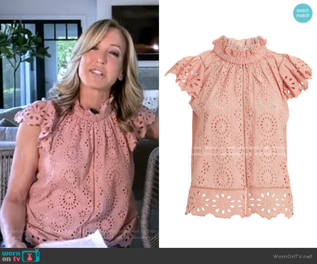 Daisy Eyelet Top by Sea worn by Lara Spencer  on Good Morning America