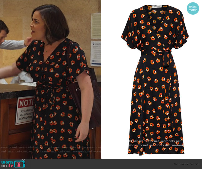 Kelsey floral-print stretch-silk midi wrap dress by Diane von Furstenberg worn by Sara Castillo (Lindsay Mendez) on All Rise